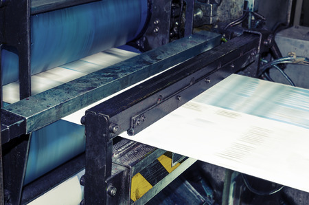 offset printer: Printing machine, hith speed roto offset print press, newspaper and magazine production industry
