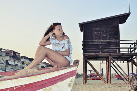 inocent: portrait of young beautiful girl with inocent look on boat