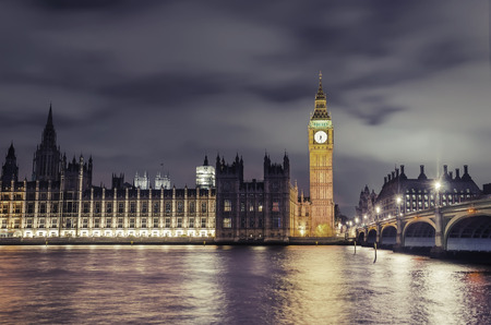 Amazing twilight view of Westminister bridge, Big Ben and House of Parlament, London, United Kingdom