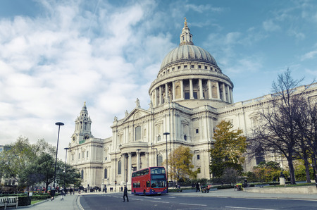 saint pauls cathedral: St Paul cathedral, London, UK, vintage, wide shoot