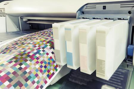 4 color printing: large format ink jet printer cartridge with color managament target paper roll