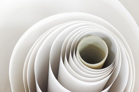 Topshot macro Paper roll spiral in a printshop