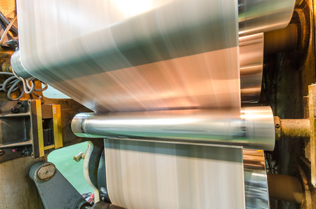 prints: Printing machine, hit set speed roto offset print press, newspaper and magazine production industry Stock Photo