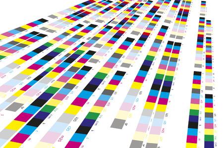 imprenta: Barras de referencia de colores de proceso de impresi�n en imprenta Foto de archivo