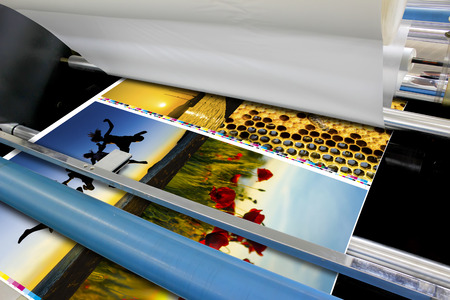 printing machine: offset machine roll foil laminator detail Stock Photo