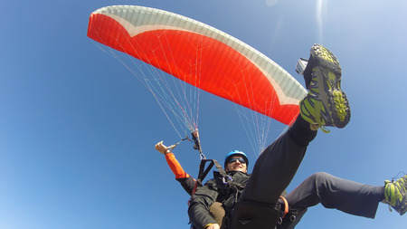 Paraglider tandem from below photo