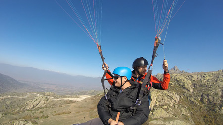 skydive: Tandem paragliders Stock Photo