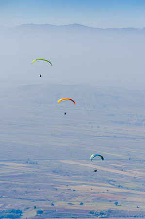 skydive: three paragliders Stock Photo