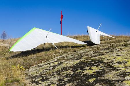 adrenaline: gliders prepared for take off. Extreme adrenaline sport