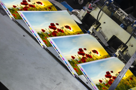 offset machine press unit with magazine in raw side view Archivio Fotografico