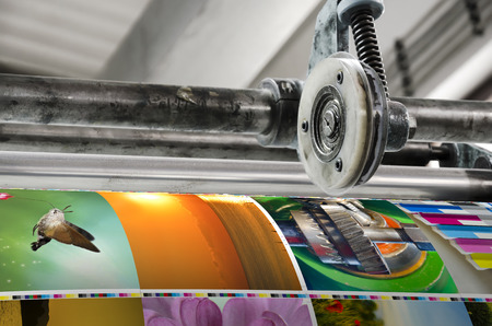 prints: Magazine offset printing machine close up