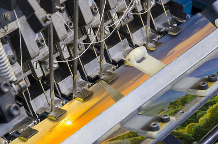 Stitching process in a modern printing house