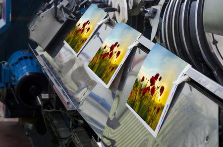 Offset unità pressa macchina con la linea rivista processo produttivo Archivio Fotografico - 38588176