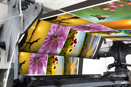 printing inks: Magazine offset printing machine Stock Photo