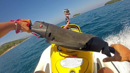ハメ撮りを運転のジェット スキー 写真素材