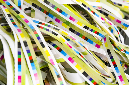 offset view: Printing color reference bars after offset print process in printshop