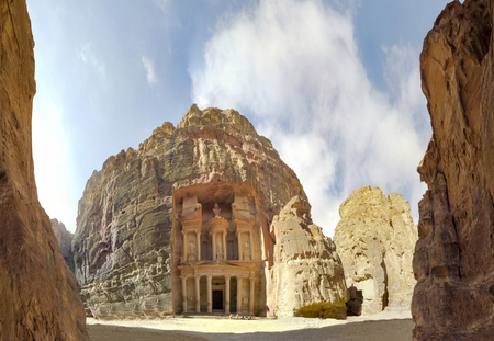 Panorama of Al Khazneh or the Treasury at ancient Petra, originally known to Nabataeans as Raqmu - historical and archaeological city in Hashemite Kingdom of Jordan