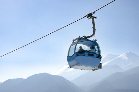 offpiste: Gondola lift and snowy mountains. Ski resort Bansko, Bulgaria, Pirin mountain Stock Photo