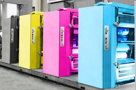 Offset Printing machine, CMYK concept