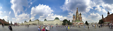spassky: MOSCOW, RUSSIA - circa AUGUST, 2016: Panorama of Red Square in Moscow Editorial