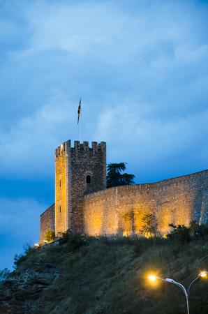 Walls of the Skopje Fortress - Macedonia ad twilight, vertical