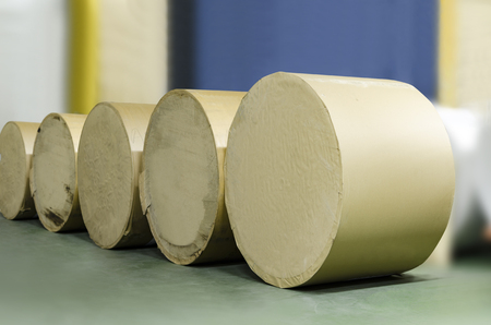 Rolls of paper lined up for offset printing press