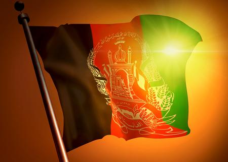 winner waving Afganistan flag against the sunset