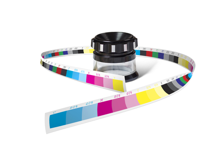 reproduce: Print loupe glass wrapped with color control bar isolated on white background