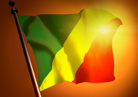 winner waving Congo Republic flag against the sunset Stock Photo