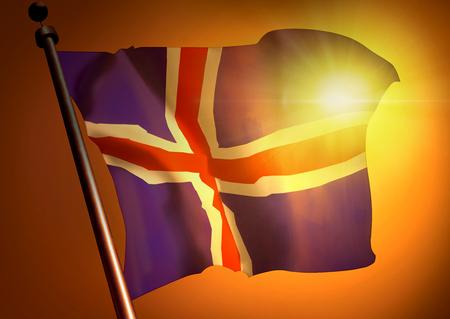 winner waving Iceland flag against the sunset
