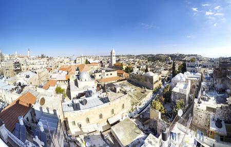 western town: Skyline of Jerusalem Israel skyline at day, panorama Stock Photo