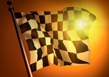 backlit: winner waving Racing flag against the sunset Stock Photo