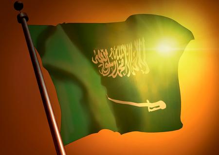 winner waving Saudi Arabia flag against the sunset
