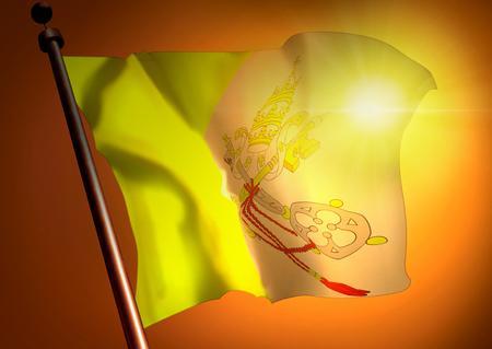 winner waving Vatican City flag against the sunset
