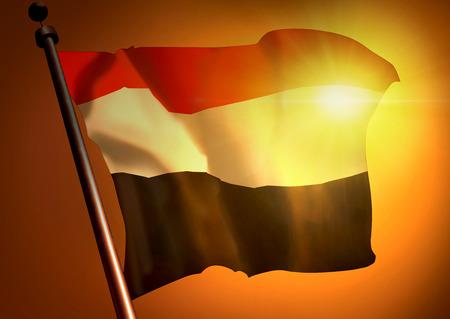 winner waving Yemen flag against the sunset