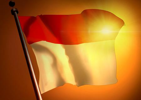 winner waving Monaco flag against the sunset