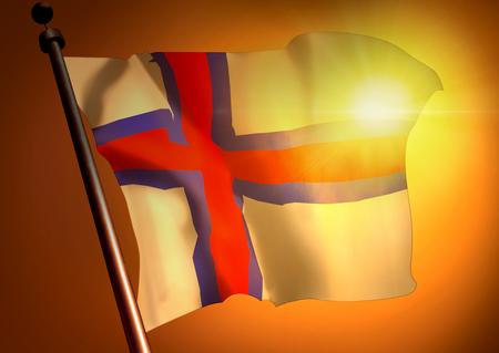winner waving Faroe Islands flag against the sunset 版權商用圖片