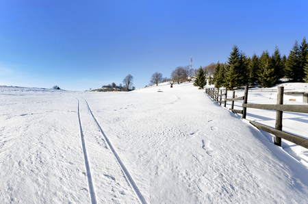 A Pastoral Scene Of Snow Covered Fences, Trees And Walking Paths trails