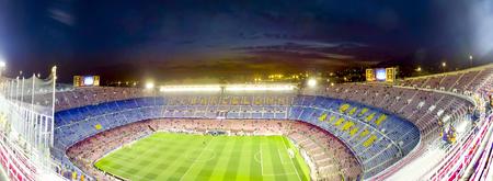 バルセロナ、スペイン - 3 月、2017 年頃: バルセロナのモットー、Mes que の国連クラブ、クラブより多くの意味を表示する立場の 1 つ。カンプ ノウ、 報道画像