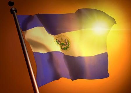bandera de el salvador: winner waving El Salvador flag against the sunset Foto de archivo