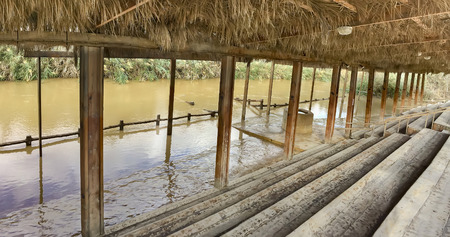 baptized: Panorama of Baptismal site Qasr el Yahud on the Jordan river near Yericho is according to the bible the place where Jesus Christ is being baptized by John the baptist