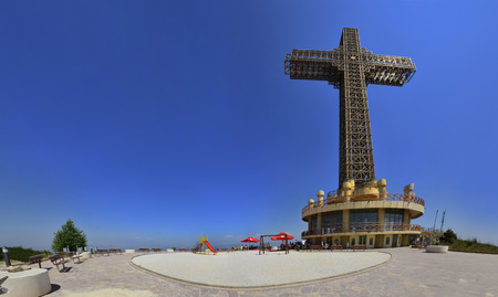 Panorama of Millenium cross, the biggest in the world. It stands on top of Vodno mountain above Skopje cityscape Stock Photo
