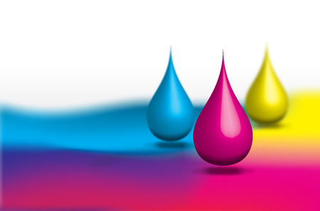 Print production, Abstract background of Cyan, Magenta and Yellow color drops