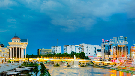 Panoramic night view of the stone bridge and archaeological museum in macedonian capital skopje