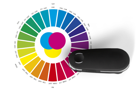 Print color wheel and spectrometer controll instrument reading RGB, CMYK, LAB values