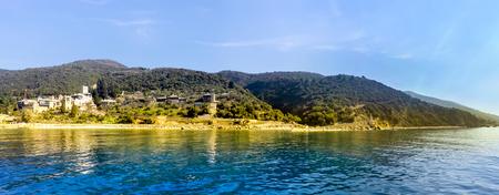 Seaview of the old Dochiariou monastery in Athos mount, Halkidiki , Greece