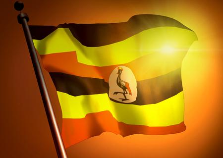 winner waving Uganda flag against the sunset