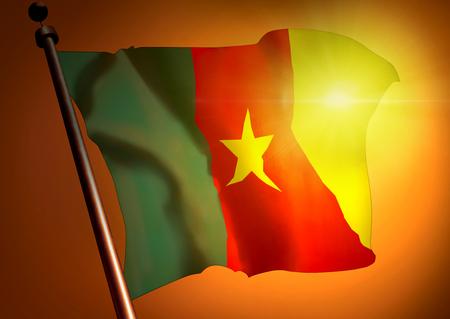 winner waving Cameroon flag against the sunset