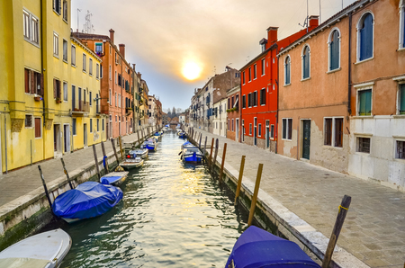 Grand Canal Venice Italy Sunset, Sunrise, Down, Orange, HDR, Colorful Stock Photo