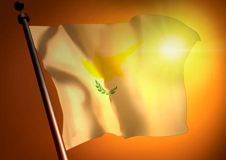 winner waving Cyprus flag against the sunset